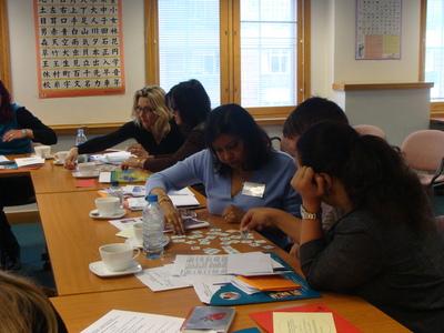 Teachers enjoying an introduction to the Japanese language